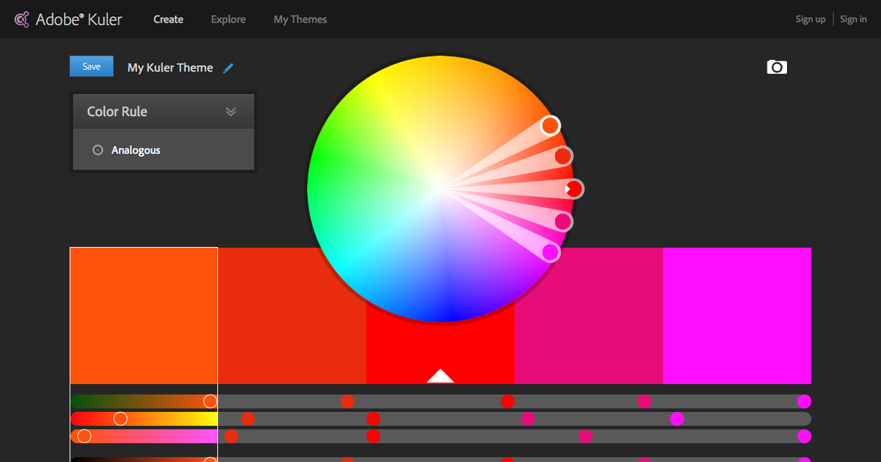 Color wheel Color schemes - Adobe Kuler